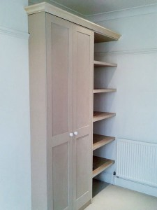 wardrobe with floating shelves