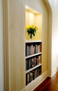 floating shelf in alcove