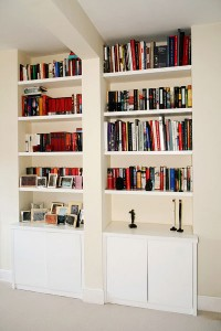 floating shelves alcove