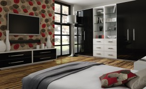 high gloss black fitted wardrobes