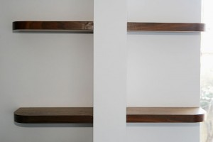 London walnut floating shelves