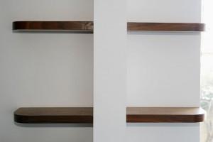 London walnut floating shelves