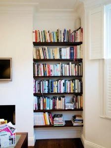alcove floating shelves