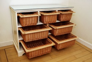 wicker baskets unit