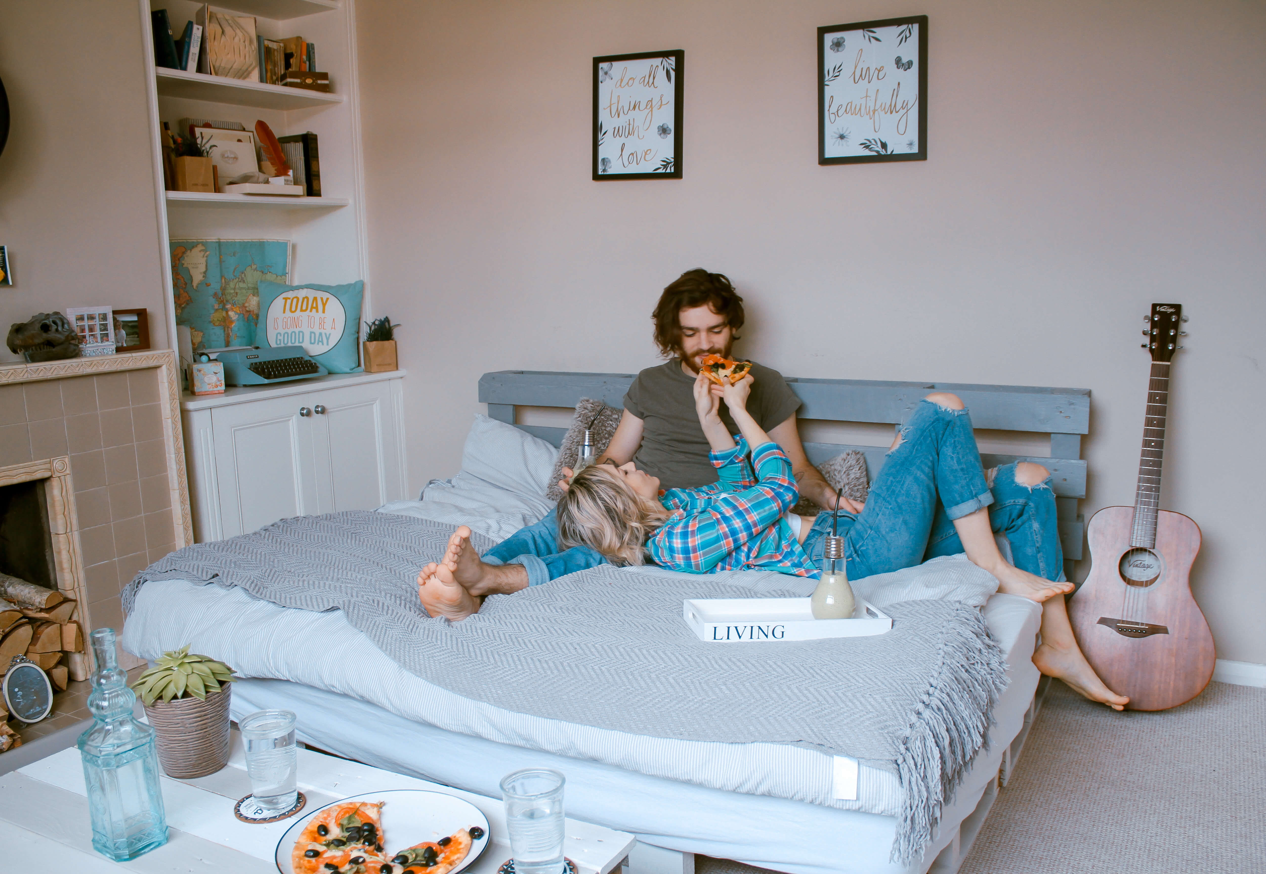 Couple laying on a bed